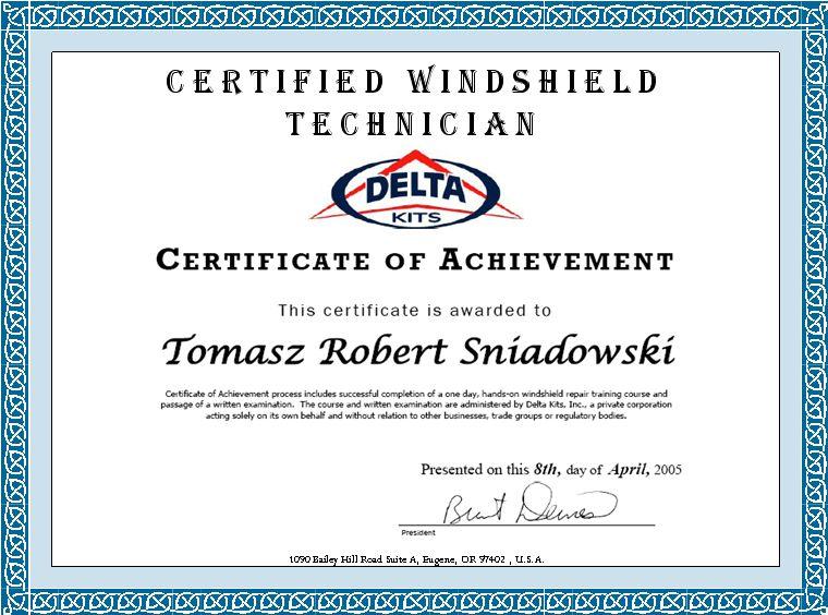 Wndshield technician certificate